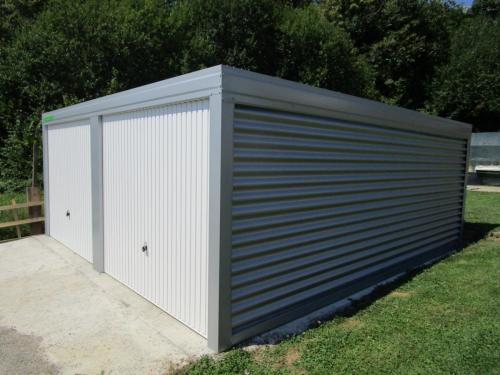 Montažna garaža dupla siva